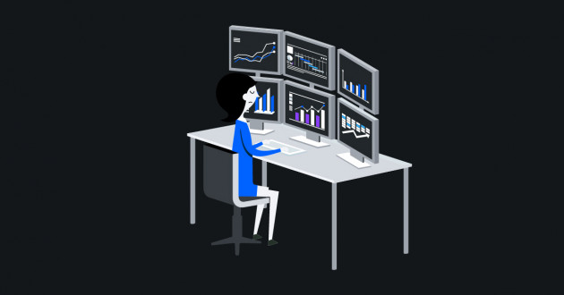 Illustration of an analyst reviewing security analytics on multiple screens.