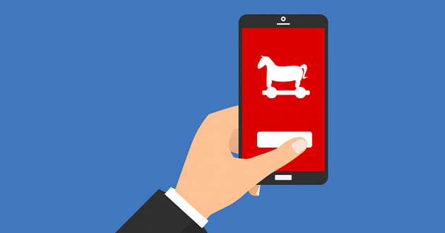 Android Trojan malware infects a mobile device