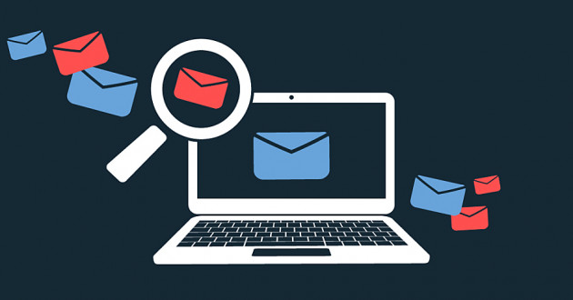 Illustration of a magnifying glass over a laptop with email icons representing phishing detection.