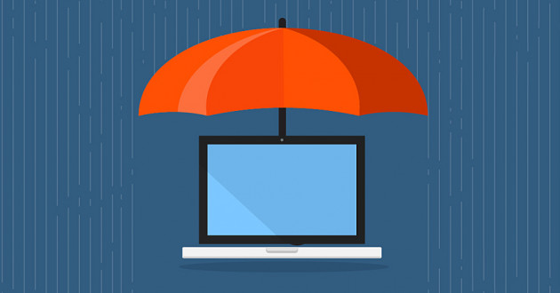Illustration of a laptop under an umbrella: Drupal security flaws
