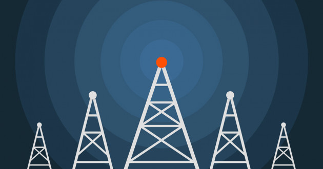 Illustration of telecommunications towers: 5G security threats