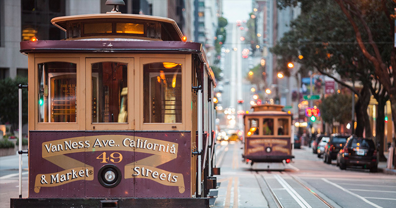 Trolly cars on the streets of California.