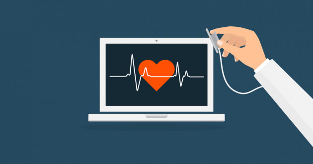 Illustration of a hand holding a stethoscope to a laptop monitor: cyber hygiene