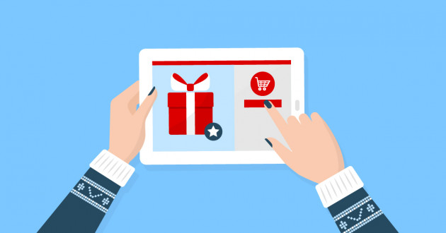 Illustration of a person purchasing items online during Cyber Monday 2018.