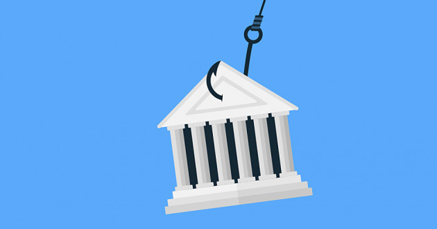 Illustration of a financial building on a fish hook: powershell malware