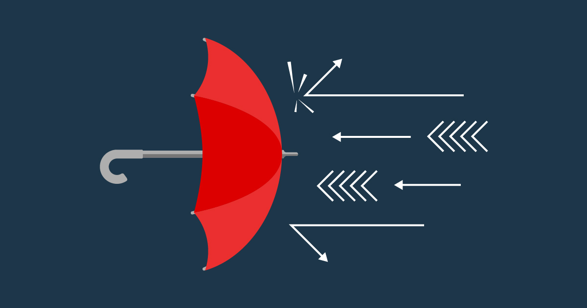 Illustration of cyberdefense represented by an umbrella deflecting ransomware threats.