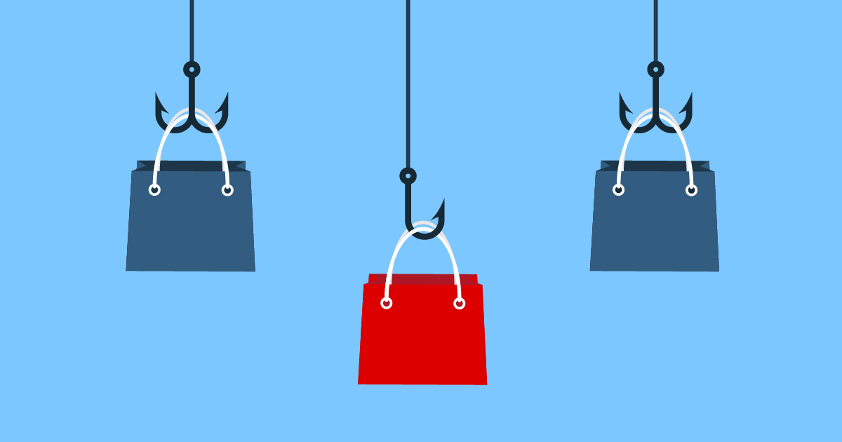 Illustration of shopping bags hanging from fish hooks representing retail cybersecurity.