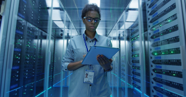 An IT professional working in a data center: cloud security risks