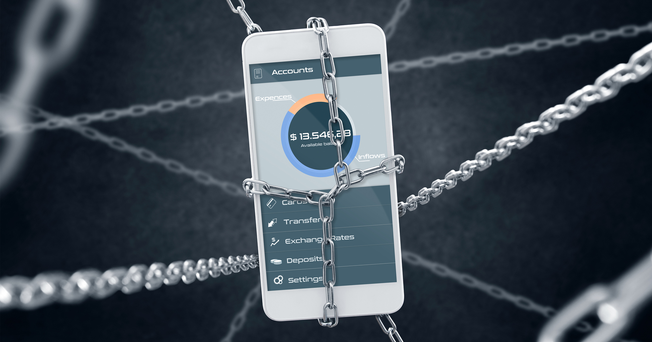 Smartphone suspended in a web of chains: mobile apps