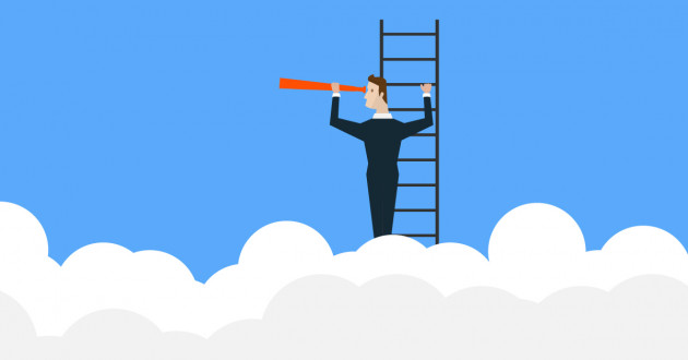 Illustration of a person looking through a telescope above the clouds: cloud security