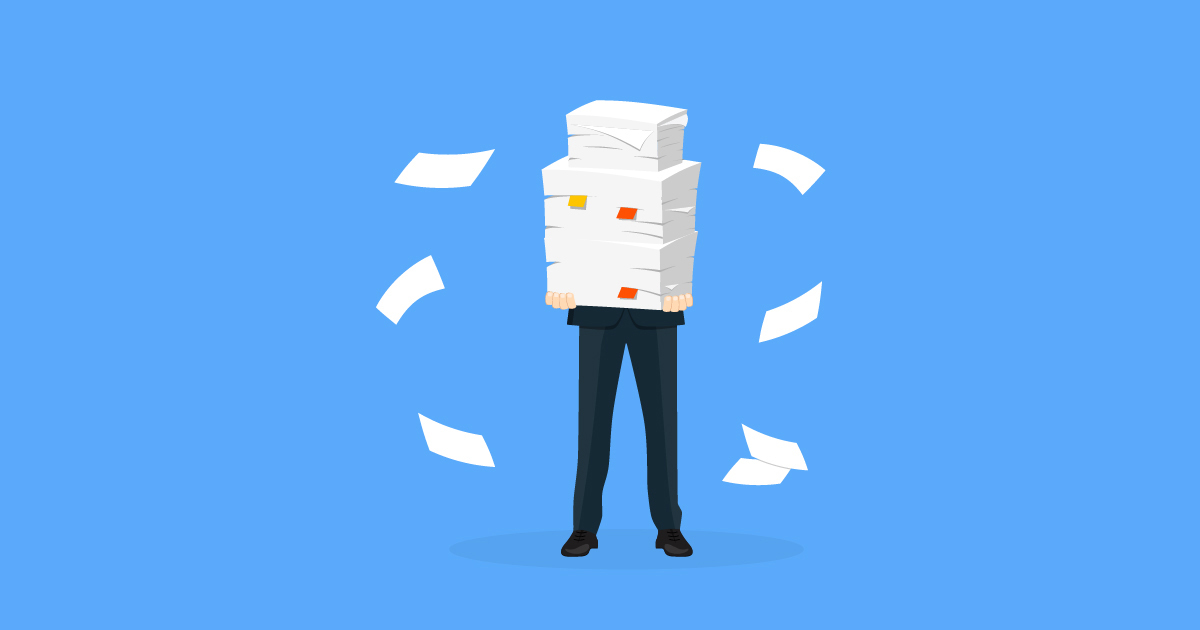 Illustration of a businessperson struggling to hold a large stack of paper: data privacy