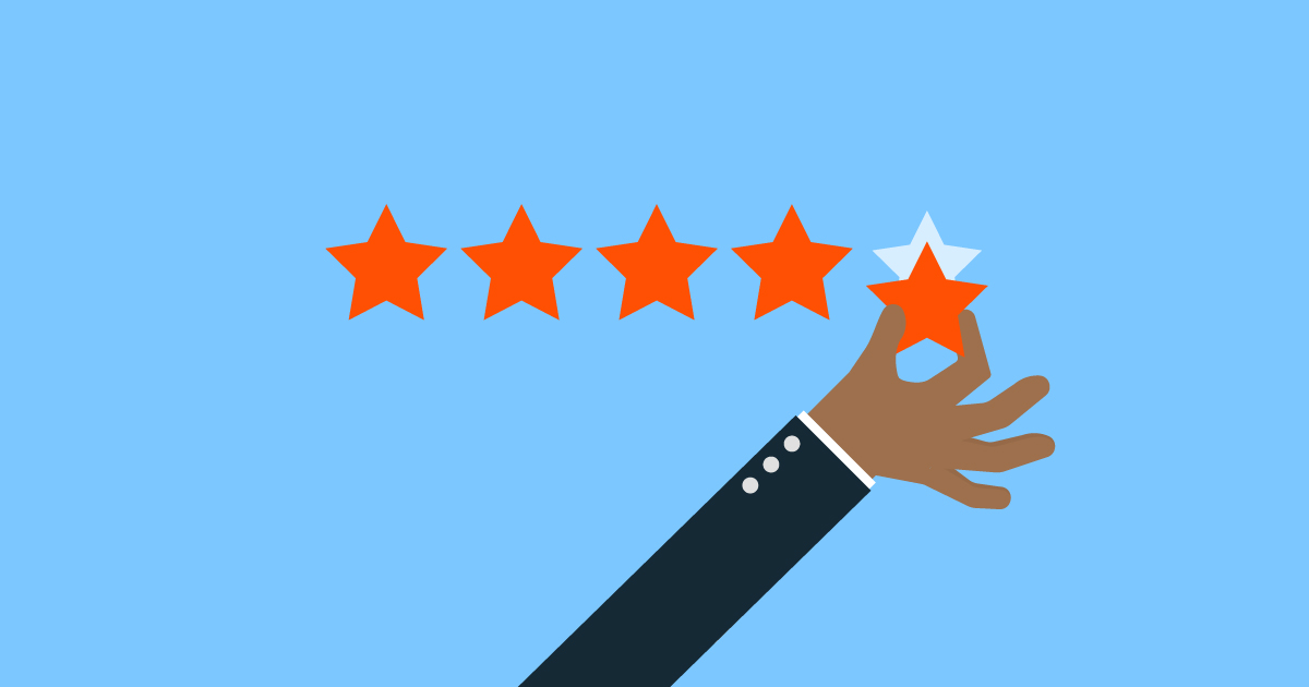 Illustration of a hand putting up a 5 star rating.