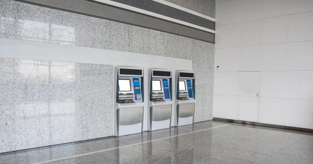 Row of ATMs in a bank entrance: ATM attacks