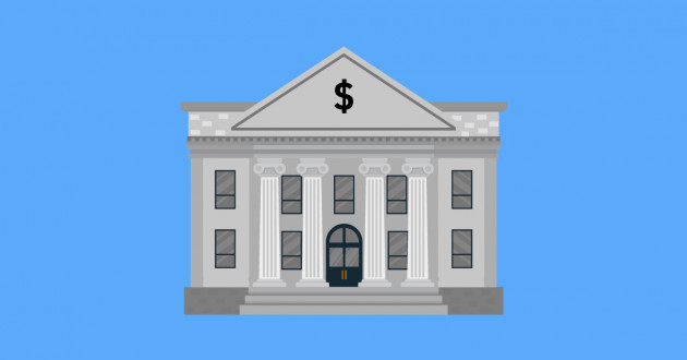 Illustration of a bank: financial services industry