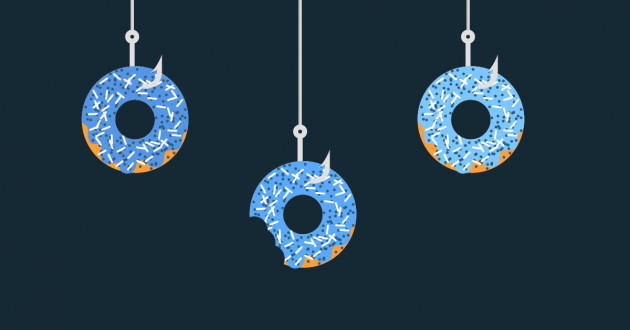 Three donuts with sprinkles on fishing hooks.