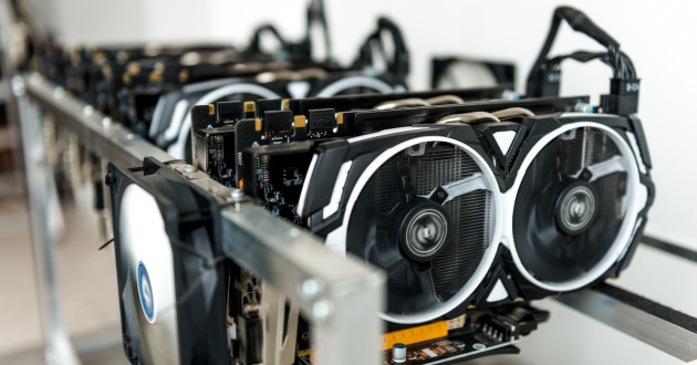 Close-up of a cryptocurrency mining rig: crypto-mining malware