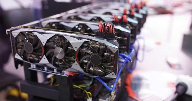 Close-up of a crypto-mining rig