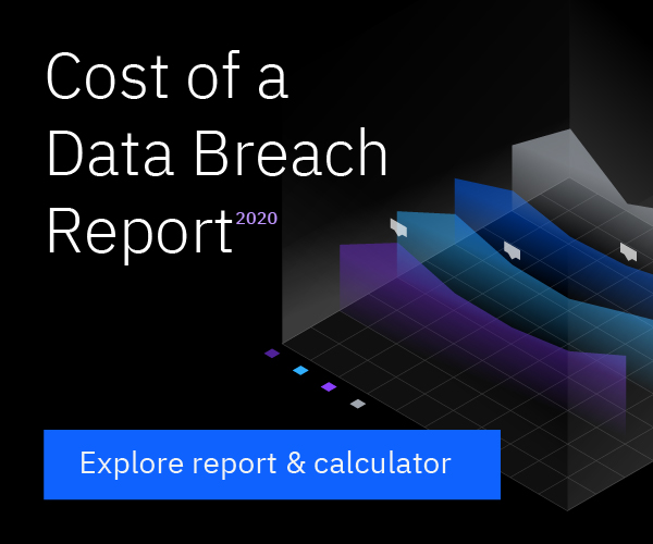 Banner ad leading to the Cost of a Data Breach Report for 2020.